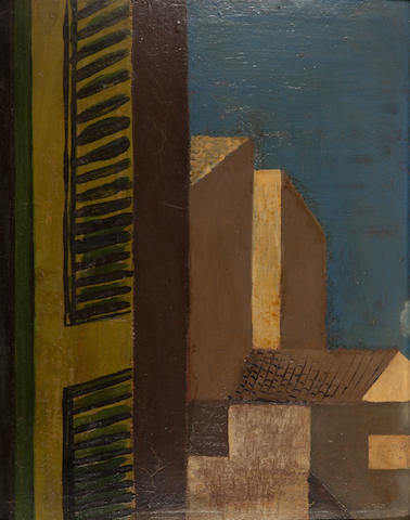 Nikos Hadjikyriakos-Ghika (Greek, 1906-1994) Shutters I 34 x 27 cm. (Painted c. 1927.)