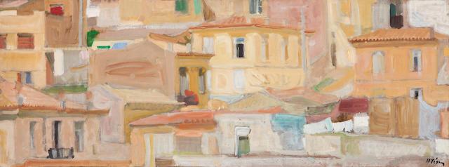 Panagiotis Tetsis (Greek, 1925-2016) Houses in Athens  47.5 x 128 cm. (Painted in 1965.)