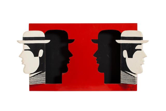 Yannis Gaïtis (Greek, 1923-1984) Two heads 36 x 57.5 x 6 cm.
