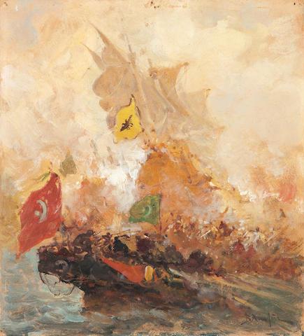 Vasilios Chatzis (Greek, 1870-1915) Byzantine naval battle 25 x 22.5 cm.