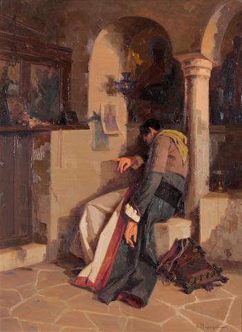 Apostolos Geralis (Greek, 1886-1983) A moment of rest 75 x 55.5 cm.