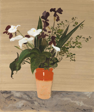 Yiannis Tsarouchis (Greek, 1910-1989) Clay vase with flowers 85 x 70 cm.