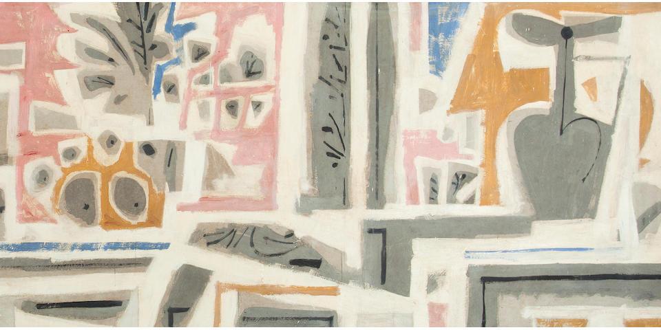 Yiannis Moralis (Greek, 1916-2009) Composition 100 x 366 cm.