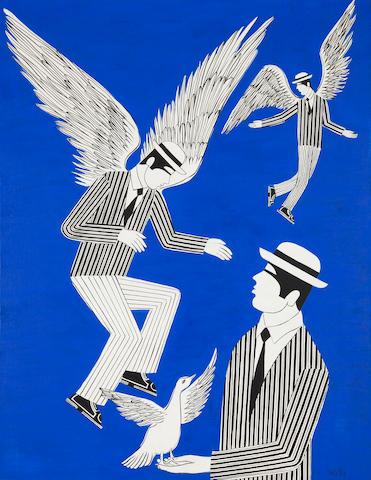 Yannis Gaïtis (Greek, 1923-1984) Angels 116 x 88.5 cm.