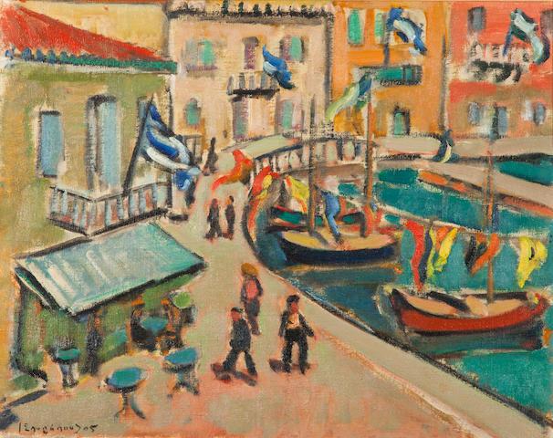 Yiannis Spyropoulos (Greek, 1912-1990) Harbor, Hydra 38 x 47 cm. (Painted in 1949.)