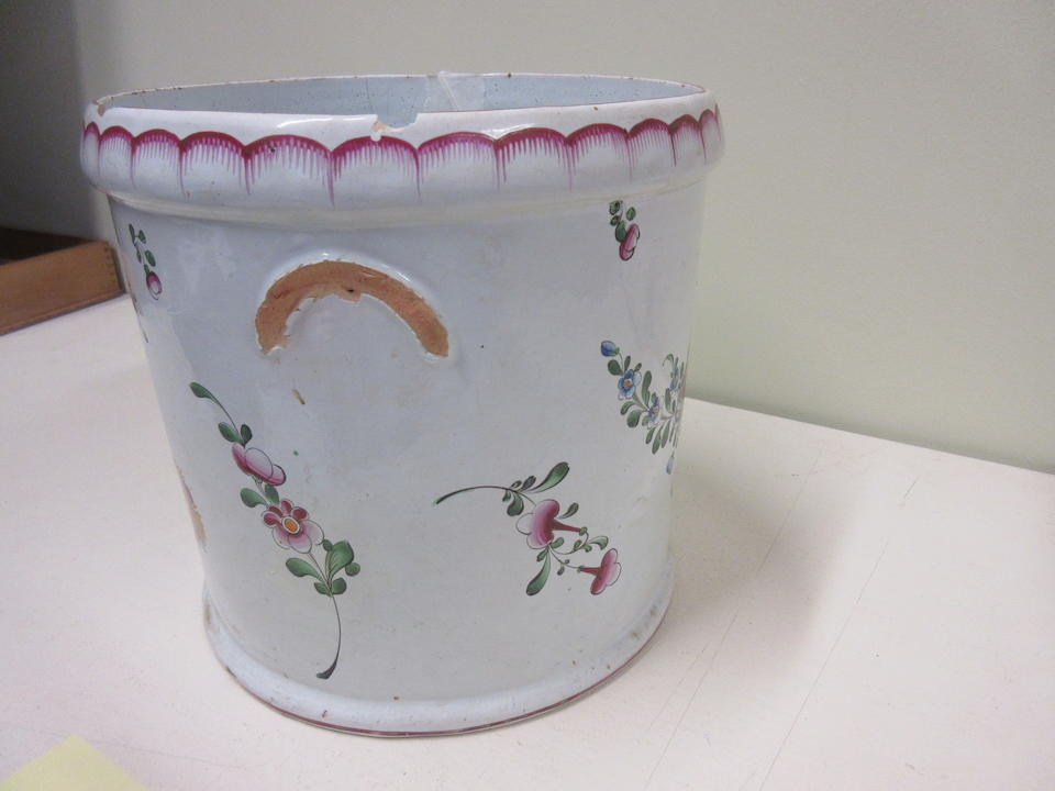 A Strasbourg faience large cylindrical wine cooler Circa 1770