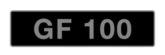 'GF 100' - UK vehicle registration number,