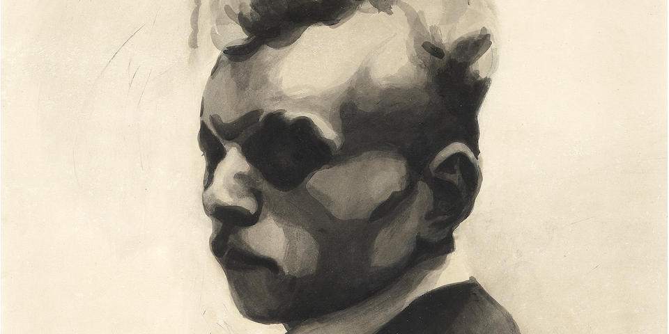 LÉON SPILLIAERT (1881-1946) Autoportrait; Zelfportret 49.5 x 39.7cm (19 1/2 x 15 5/8in). (within the mount) (Executed in 1907)