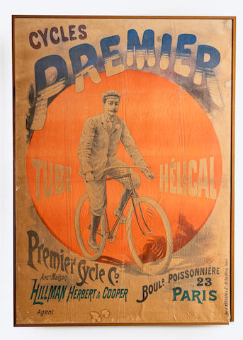 A large Premier Cycles advertising poster