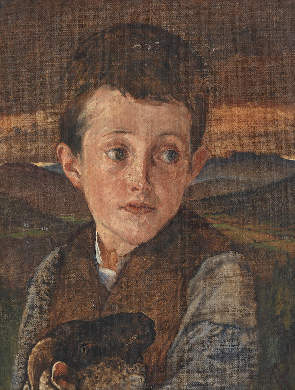 Phoebe Anna Traquair HRSA (1852-1936) Boy and sheep 25.5 x 20.5 cm. (10 1/16 x 8 1/16 in.)
