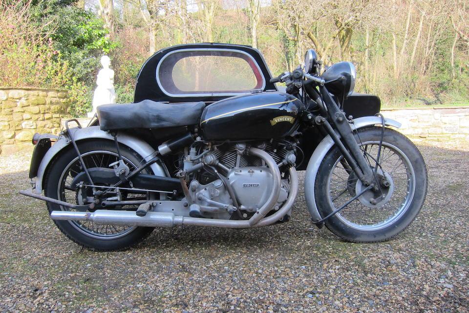 1952 Vincent 998cc Series-C Rapide Watsonian Combination Frame no. RC10113/E Rear Frame no. RC10113/E Engine no. F10AB/1/8213 Crankcase nos. XX 77 / XX 77