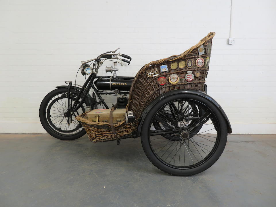 Formerly part of the Ward Brothers Collection, 1909 Minerva 3½hp with Wicker Sidecar Frame no. 21692 Engine no. 12061