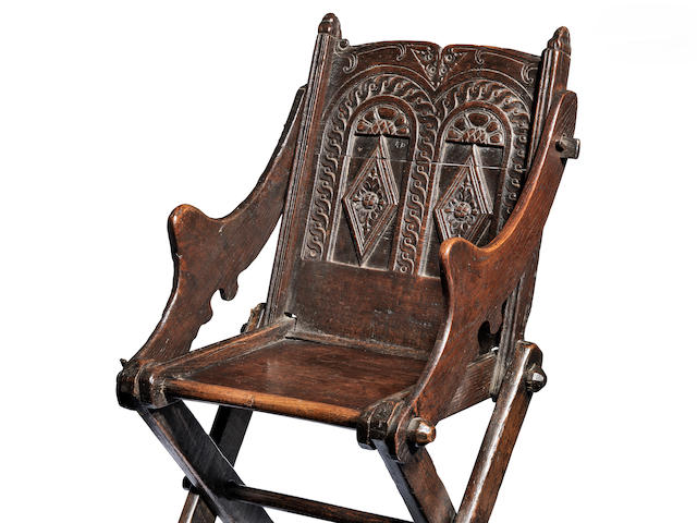 A rare and documented Elizabeth I oak so-called Glastonbury chair, West Country, possibly Somerset, circa 1580-1600 Of unusual small size