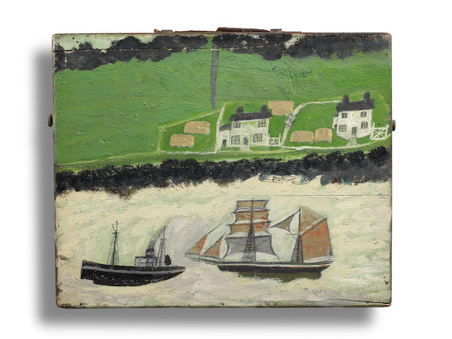 Alfred Wallis (British, 1855-1942) A Steamship and a Schooner Passing the Coast (recto); A Path Through a Wood (verso) 30 x 37 cm. (11 3/4 x 14 1/2 in.)
