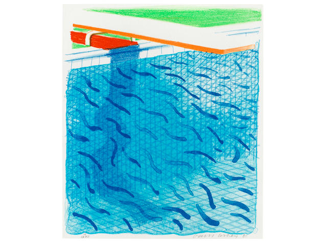 David Hockney (born 1937) Pool Made with Paper and Blue Ink for Book Lithograph in colours, 1980