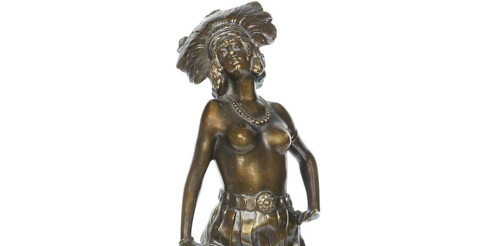 Josef Lorenzl (Austrian, 1892-1950) for Friedrich Goldscheider an Art Deco Patinated Bronze Study of a Dancing Girl, circa 1925
