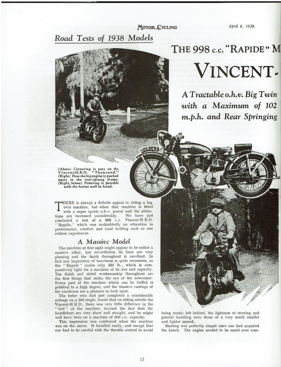 Factory Demonstrator, The 1938 & 1955 'Motor Cycling' Road Tests Machine, 1938 Vincent-HRD 998cc Series-A Rapide  Frame no. DV1504 (see text) Engine no. None visible (see text)