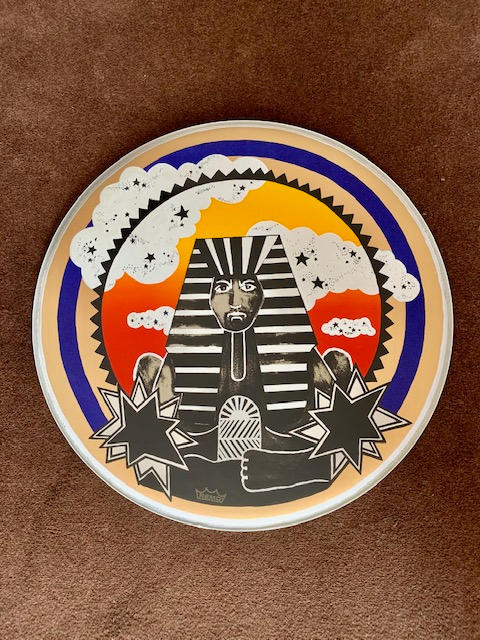 A pair of hand finished screen-printed drum heads (only ten were produced) of Nick Mason's Pharaoh drums
