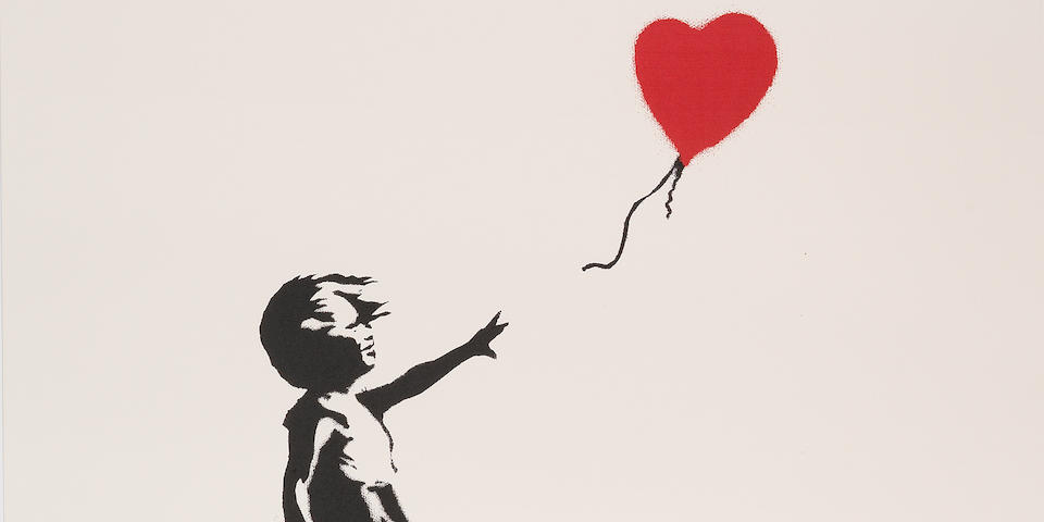 Banksy (British, b. 1975) Girl with Balloon  Screenprint in black and red, 2004, on wove, numbered 349/600 in pencil, published by Pictures on Walls, London, with their blindstamp, the full sheet, 700 x 500mm (27 5/8 x 19 5/8in)(SH)