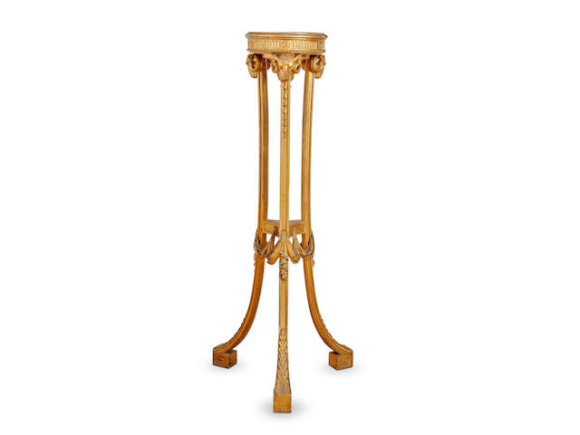 An English George III giltwood torchère