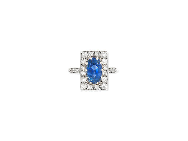 A Sapphire and diamond plaque ring, early 20th century