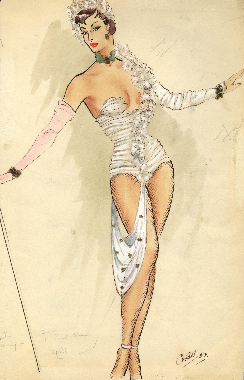 Ronald Cobb (British, 1907-1977): A signed original costume design for a Murray's Cabaret Club showgirl in a white corset, 1952,