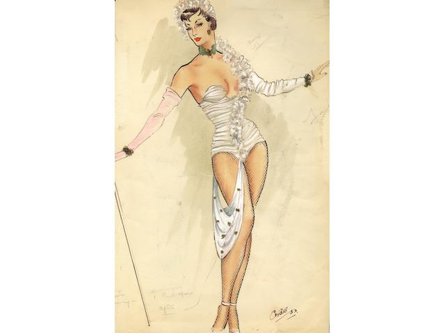Ronald Cobb (British, 1907-1977): A signed original costume design for a Murray's Cabaret Club showgirl in a white corset, 1952,