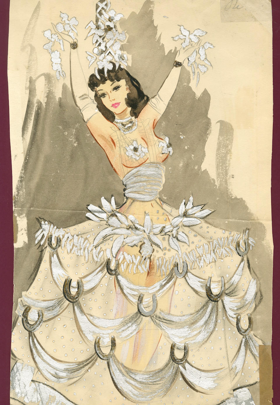 Ronald Cobb (British, 1907-1977): A large original costume design of a Murray's Cabaret Club showgirl in a silver hoop-skirt, 1950's,