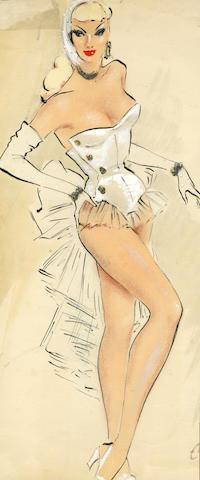Ronald Cobb (British, 1907-1977): Two original costume designs of Murray's Cabaret Club showgirls in white costumes for 'Ascot No.' 1950's, 2