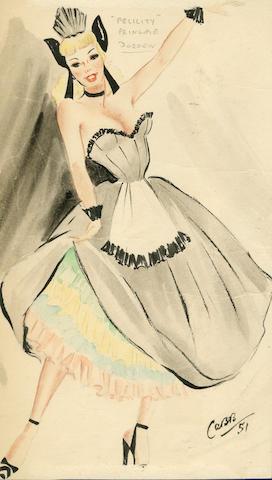 Ronald Cobb (British, 1907-1977): Two original costume designs of Murray's Cabaret Club showgirl 'Doreen' in pink and black dresses, 1951, 2