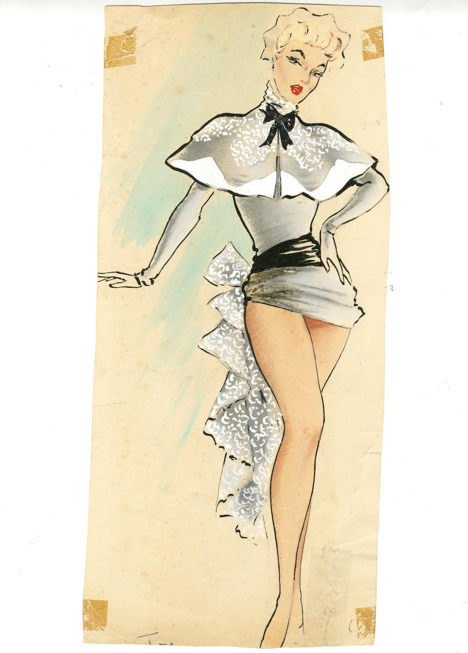 Ronald Cobb (British, 1907-1977): A large original costume design of a Murray's Cabaret Club showgirl in a grey dress with cape, 1950's,