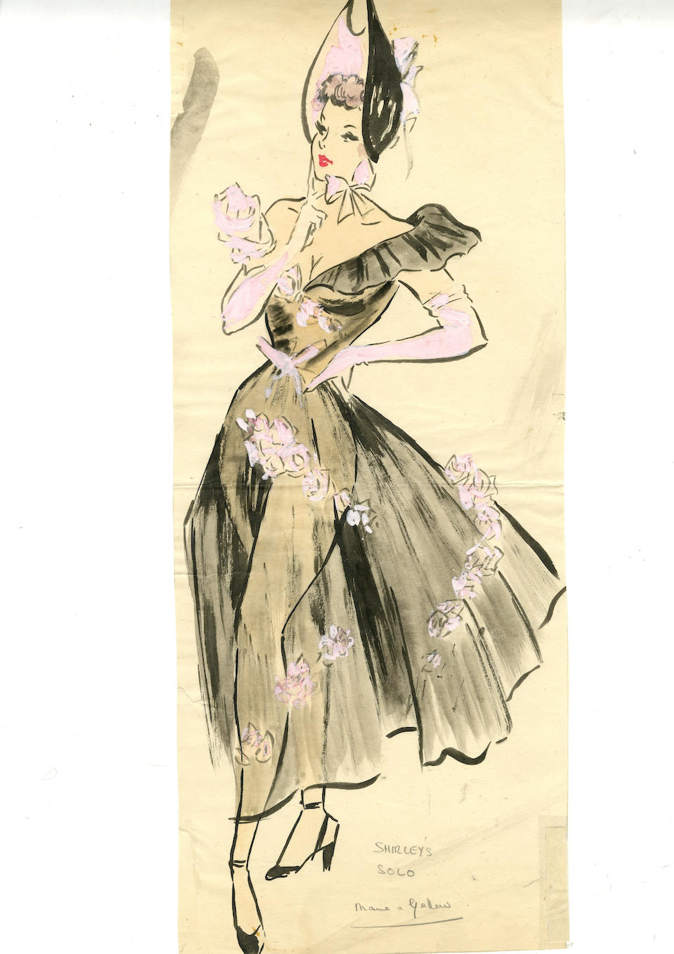 Ronald Cobb (British, 1907-1977): A large original costume design of a Murray's Cabaret Club showgirl in a black dress and hat, 1950's,