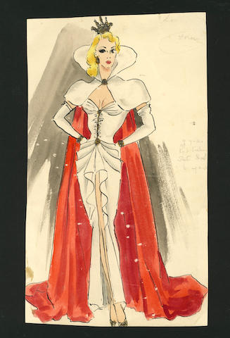 Ronald Cobb (British, 1907-1977): An original costume design of a Murray's Cabaret Club showgirl in a white dress with red cape, 1950's,