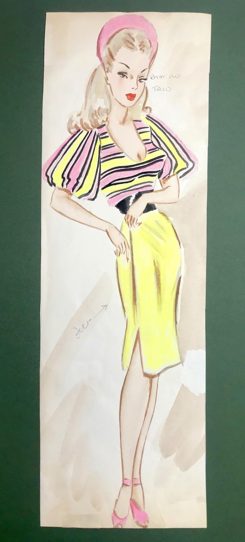 Ronald Cobb (British, 1907-1977): An original costume design of a Murray's Cabaret Club showgirl in a pink and yellow outfit, 1950's,
