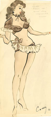 Ronald Cobb (British, 1907-1977): A signed original costume design of a Murray's Cabaret club showgirl in a brown and white ensemble, 1951,