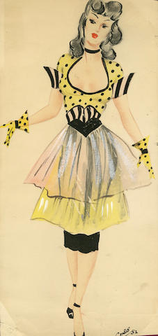 Ronald Cobb (British, 1907-1977): A signed original costume design of a Murray's Cabaret Club showgirl in a yellow and black dress, 1952,