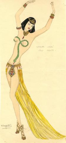 MICHAEL BRONZE (BRITISH, 1916-1979): An original costume design for a Murray's Cabaret Club showgirl in costume for 'Cleopatra', 1939,