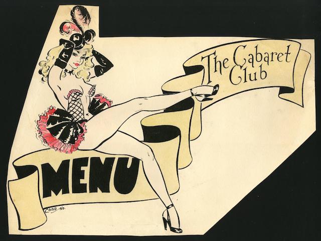 Ronald Cobb (British, 1907-1977): An original hand-painted design for a menu at Murray's Cabaret Club, 1950,