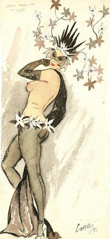 Ronald Cobb (British, 1907-1977): A signed original costume design for a Murray's Cabaret Club showgirl in fishnet stockings, 1951,
