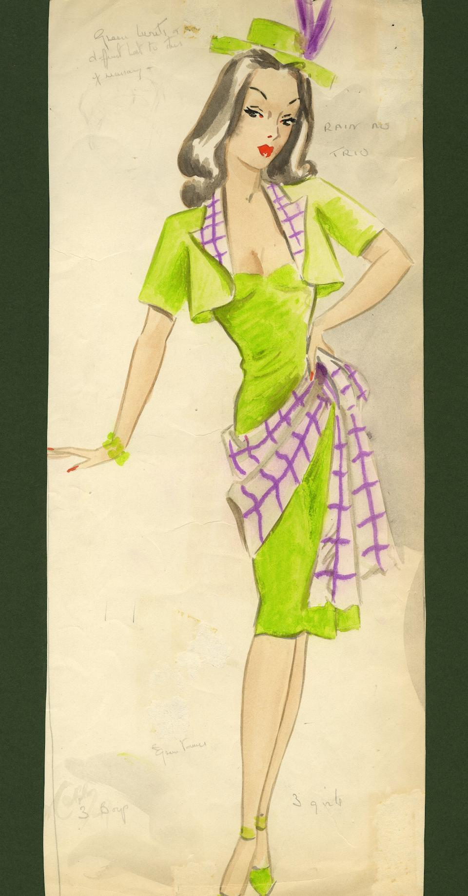 Ronald Cobb (British, 1907-1977): An original costume design for a Murray's Cabaret Club showgirl in a green dress and hat, 1950's,