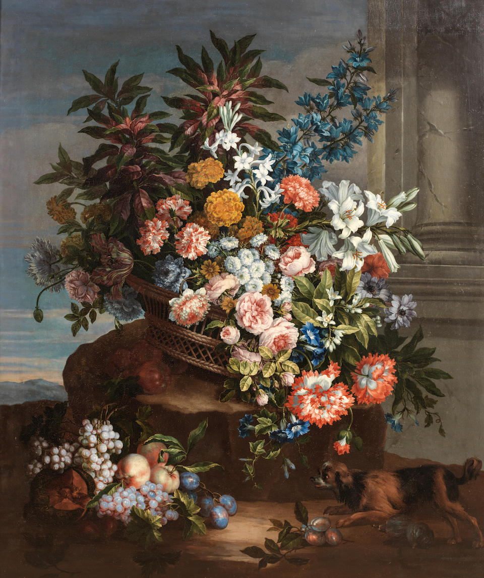 Jean-Baptiste Monnoyer (Lille 1636-1699 London) Still life of a basket of flowers by a column in a landscape with a King Charles spaniel