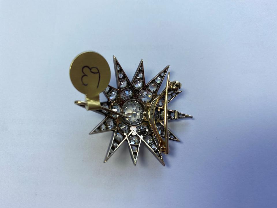 A diamond star brooch/pendant, Victorian