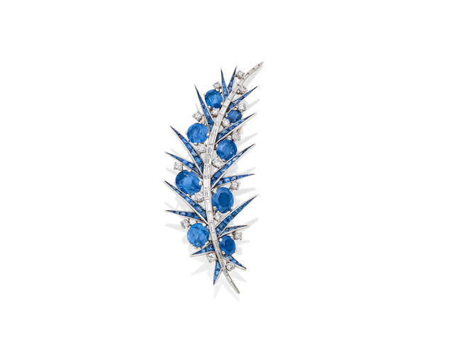 A sapphire and diamond brooch, by Jean Parmentier,