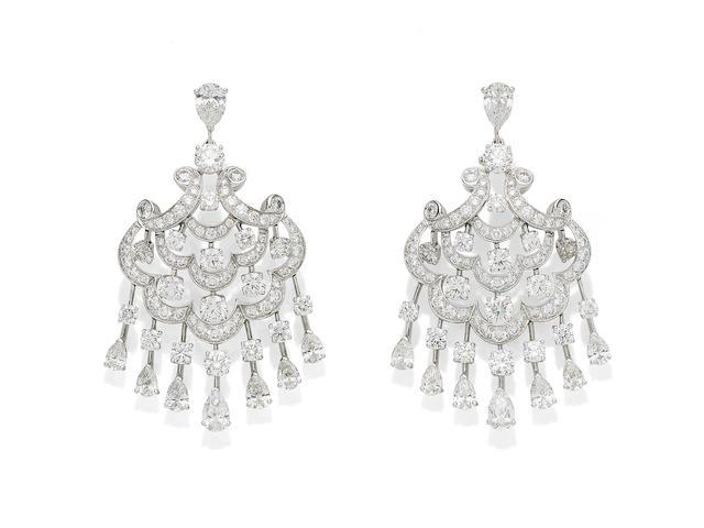 A pair of diamond chandelier earrings, by Graff