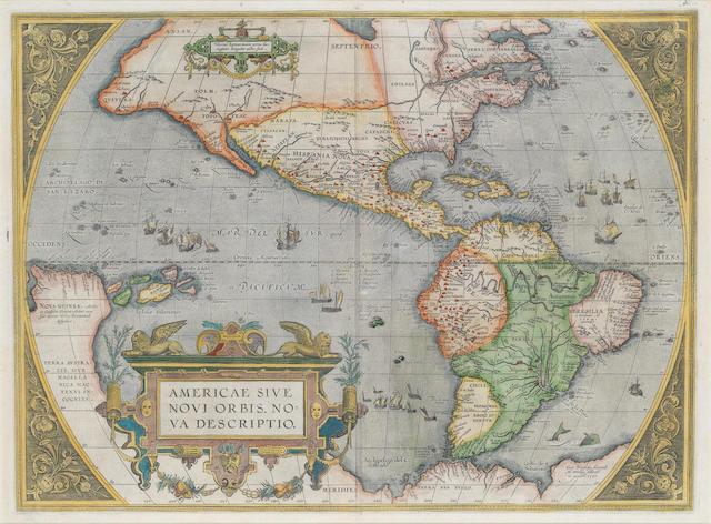 WORLD AND CONTINENTS ORTELIUS (ABRAHAM) Typus orbis terrarum... 1587; Americae sive novi orbis, nova descriptio; Asiae nova descriptio; Africae tabula nova; Europae, [Antwerp, 1587] (5)