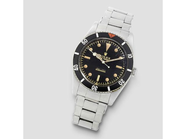 Rolex. A fine stainless steel automatic bracelet watch with gilt dial  Submariner, Ref: 6536/1, Circa 1956