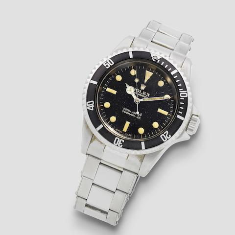 Rolex. A stainless steel automatic bracelet watch with gilt dial  Submariner, Ref: 5513, Circa 1966