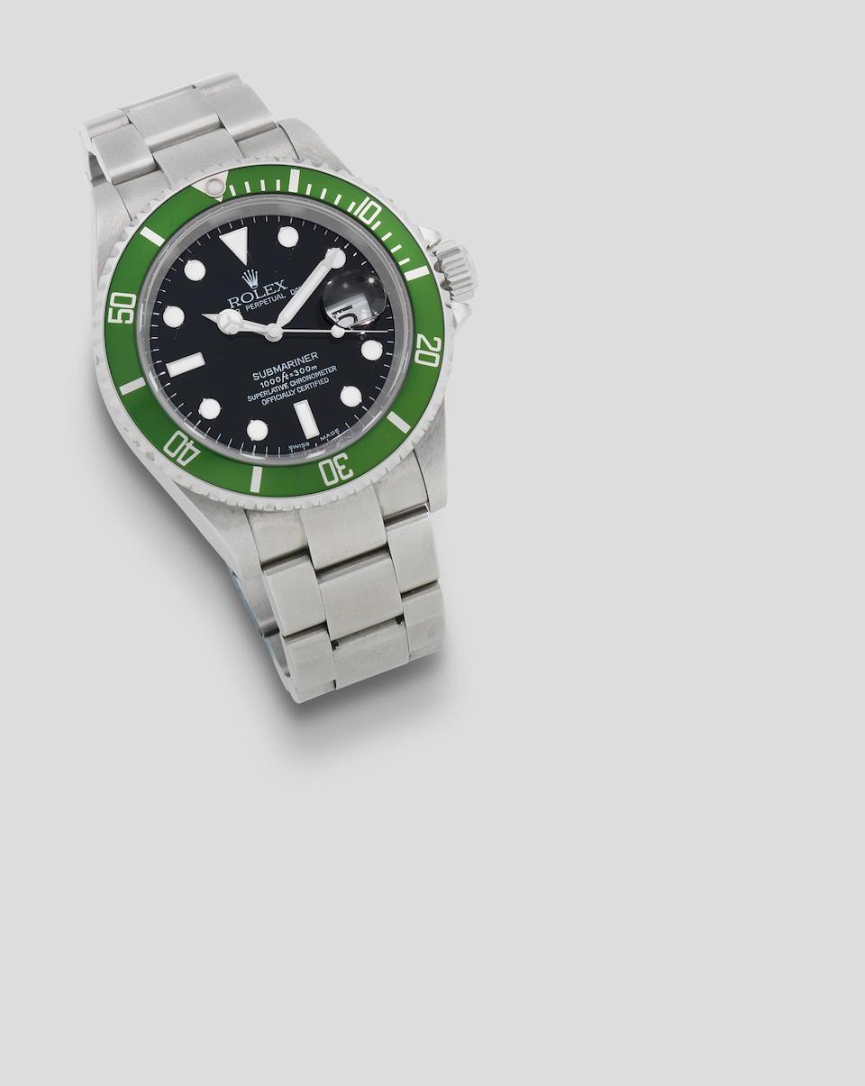 Rolex. A stainless steel automatic calendar bracelet watch with 'flat 4' bezel insert  Submariner 'Kermit Flat 4', Ref: 16610 T, Circa 2003