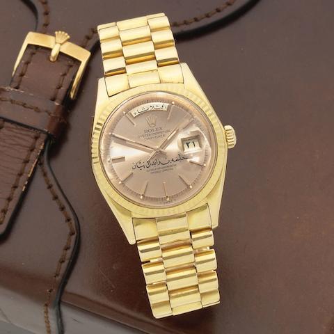 Rolex. A fine and rare 18K gold automatic calendar bracelet watch with Arabic dial inscribed 'Khalifa bin Zayed bin Sultan Al Nahyan' and Arabic day and date  Day-Date, Ref: 1803, Circa 1967