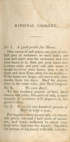 AMERICAN COOKERY The Cook Not Mad, or Rational Cookery; Being a Collection of Original and Selected Receipts, FIRST EDITION, Watertown, Knowlton & Rice, 1830